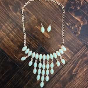 Matching Gold Statement Necklace and Earrings